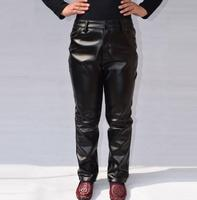 Spring autumn windproof waterproof trousers women leather pants woman pu pant pantalon femme straight casual black mother loose