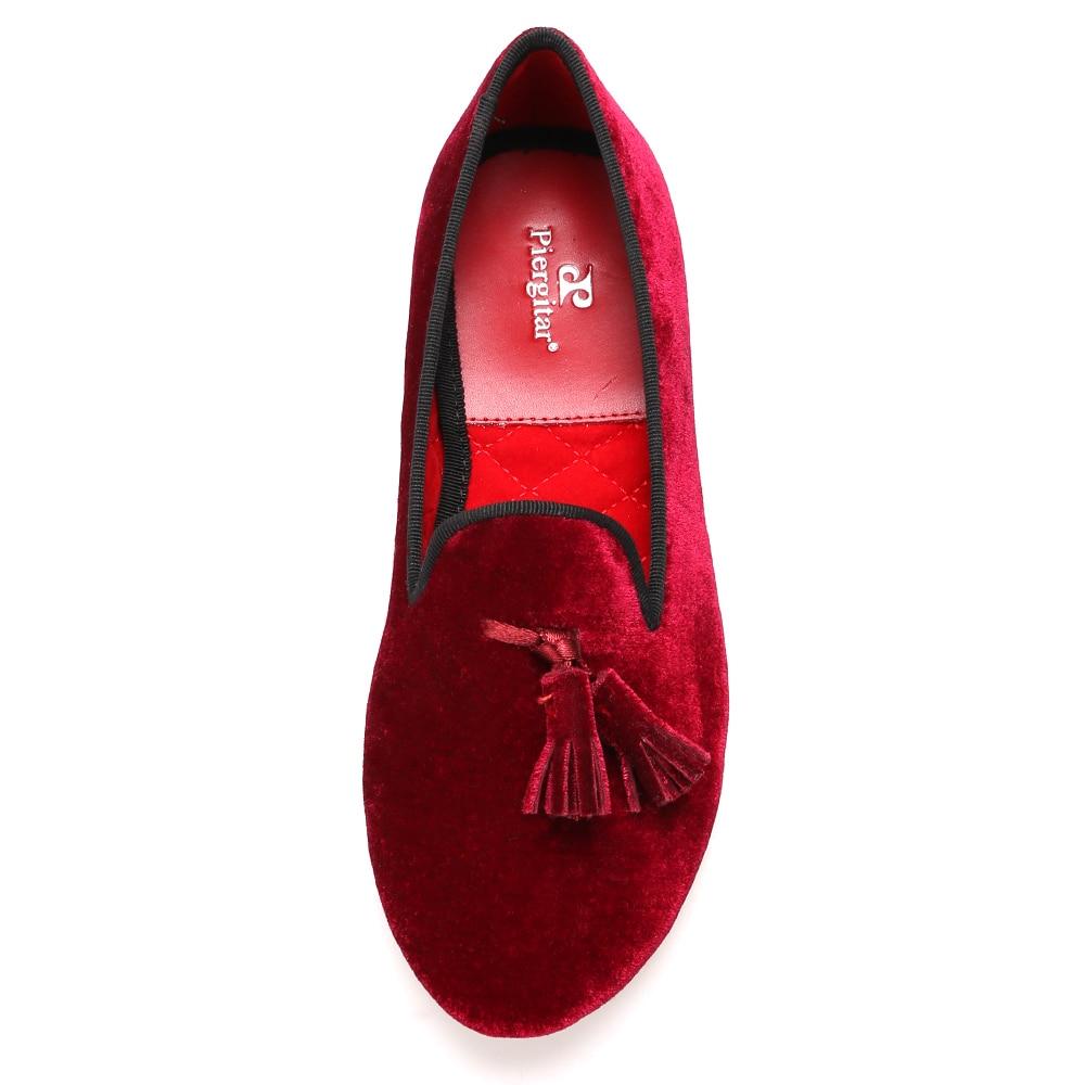 Piergitar Nieuwe handgemaakte vrouwen fluwelen schoenen met kwastje wijn rode kleur vrouwen Casual en Party loafers vrouwen jurk flats - 3