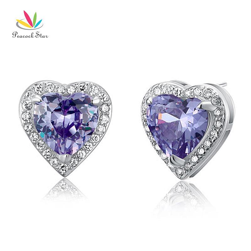 Peacock Star 3 Carat Purple Solid 925 Sterling Silver Heart Stud Earrings Jewelry CFE8024
