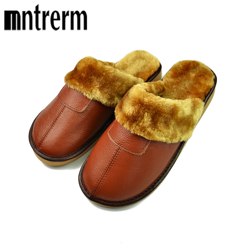 Mntrerm 2017 Keep Warm Slippers Waterproof Men Winter Couple With Thick Bottom Home Sofa Gemuine Leather Slippers With Plush zhh warm soft fleece strip blankets double layer thick plush throw on sofa bed plane plaids solid bedspreads home textile 1pc
