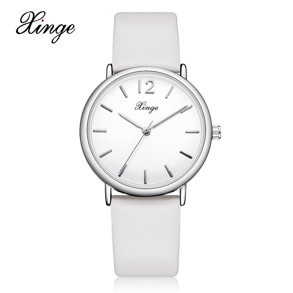 2017 New Xinge Brand Watches Women Casual Leather Watchband Quartz Wrist Watch Business Dress Silver Watch Clock Gift XG1058 taylor cole relogio tc013