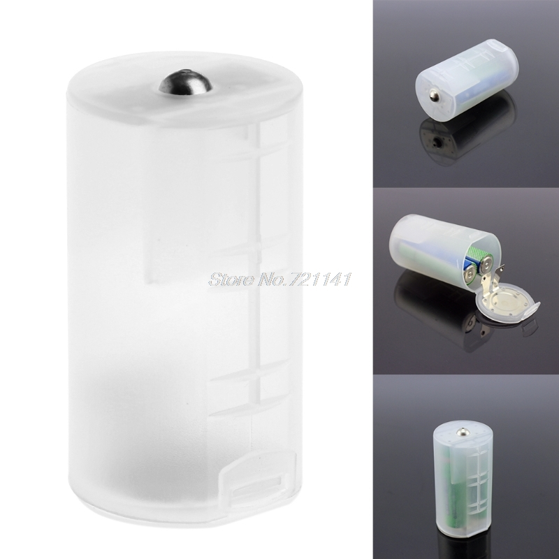 1PC 2 AA To D Size Battery Holder Converter Adapter Switcher Plastic Case Box Electronics Stocks