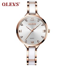 OLEVS Ceramic Watch Luxury Women Watches Quartz Roman Surface Dial Ladies Watch Waterproof Rose Gold Wrist Watch Stainless Steel