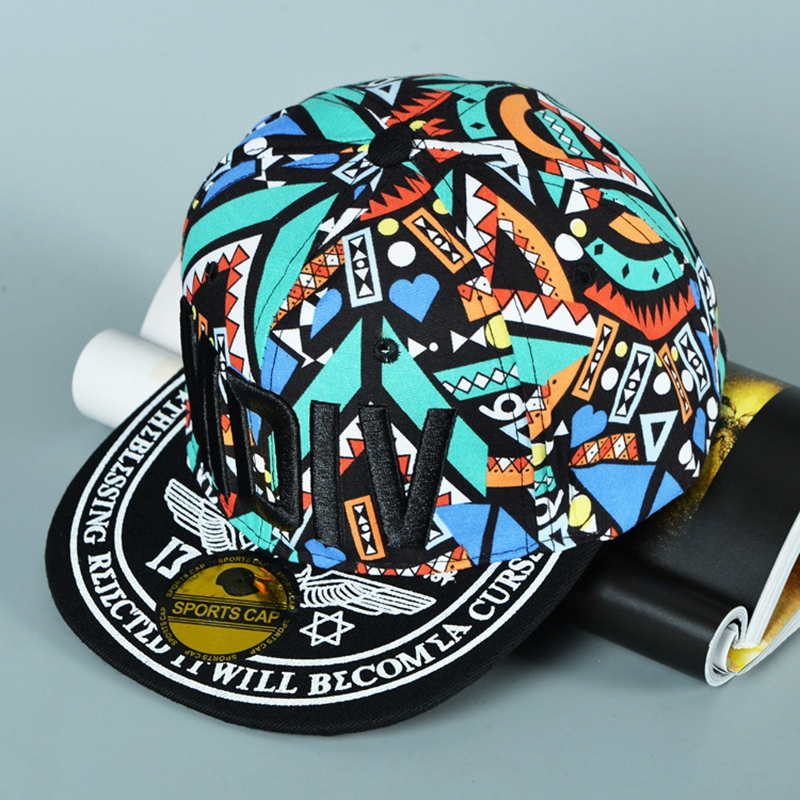 Adulto Algod%C3%B3n Mdiv Gorras Planas Graffiti Carta Sombrero de Ala Plana  Hip Hop Floral Colorido Hueso 085bd20788f
