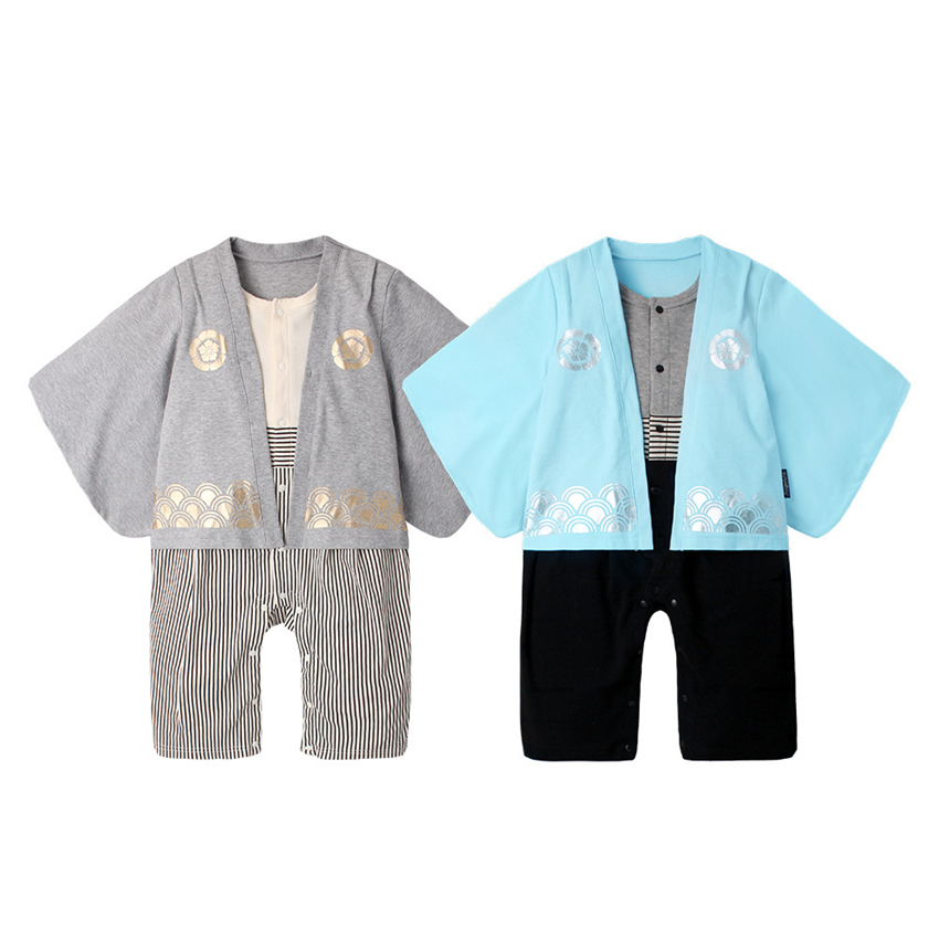 Japanese Style Baby Rompers Baby Clothes Yamato Nationl Costumes Kimono Baby Boys 7-24M Japanese Style Kimono Newborn Rompers
