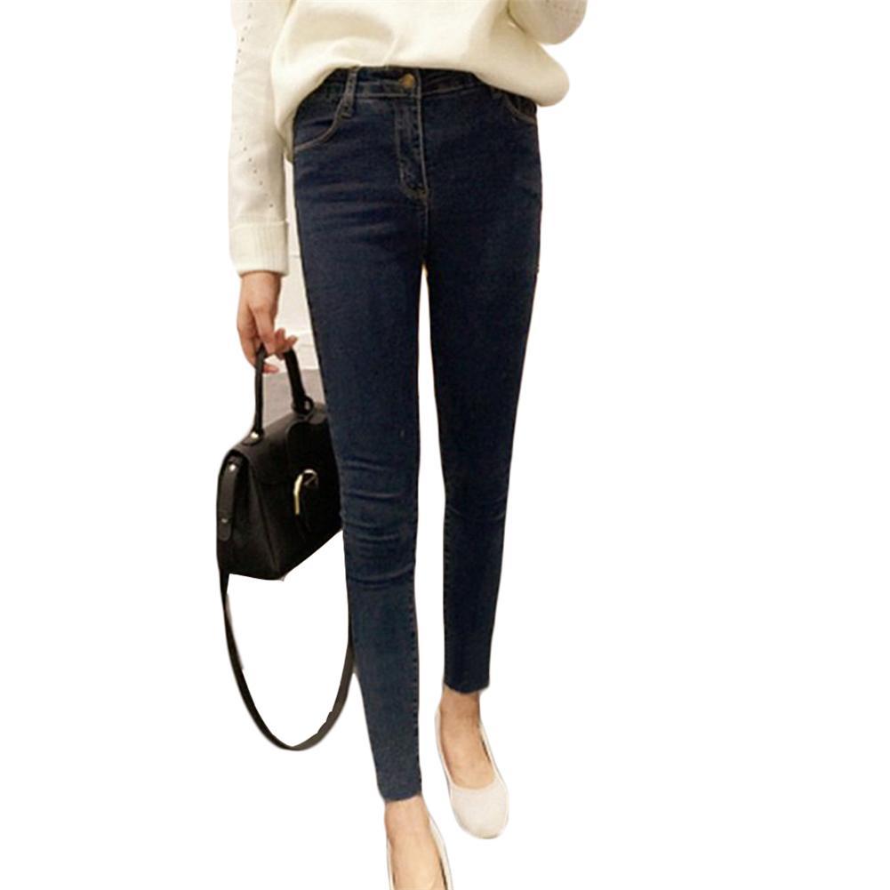 2018 Do Vintage Calça Jeans de Cintura Alta Lápis Calças Jeans Elástico  Femme Mulheres Lavado Azul 11d3d997486