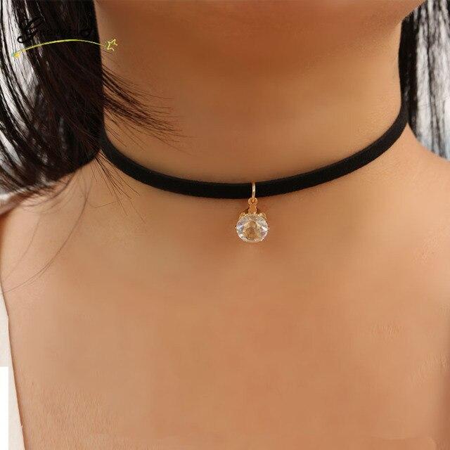 1 pz ciondolo zircone choker collane donne di velluto nero in pelle scamosciata