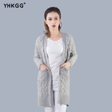 YHKGG 2017 Women Long Knitted Cardigans Autumn Winter Sweater Coat For Warm Knit Pocket Outerwear Female