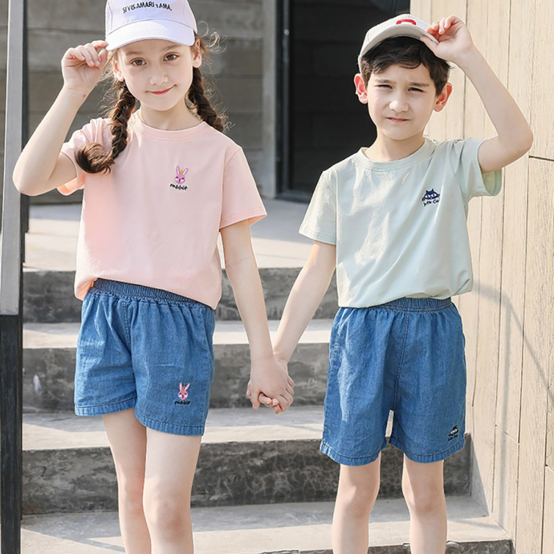 Cute Children Boys Girls Wear Summer Solid Color Cute Casual Soft Breathable Cowboy Shorts 3 10 Lovely Toddler Girl Boys Clothes in Jeans from Mother Kids