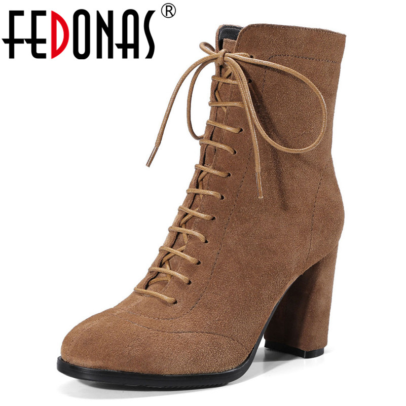FEDONAS New Women Ankle Boots High Heels Lace Up Party Wedding Shoes Woman Thick Heels Warm Martin Shoes Short Office Pumps