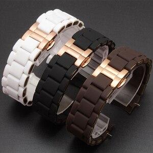 Image 2 - Peiyi aço inoxidável e pulseira de silicone 20mm 23mm implantação ouro rosa fivela para ar5920 5905 5919 5890 5906 corrente relógio