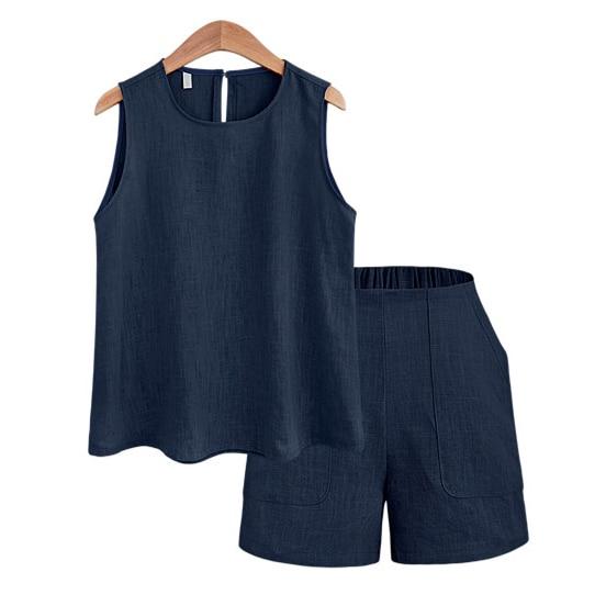 4 colores 2018 moda verano Casual conjuntos de mujer r Lady conjunto de dos piezas sin mangas Crop Top + Shorts Plus tamaño M-5XL Terno femenino