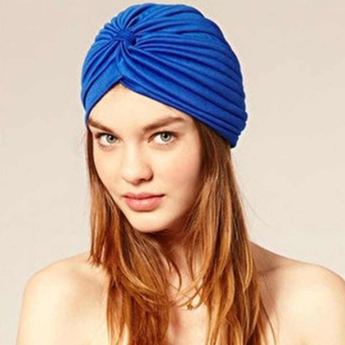 ストレッチターバンイスラム教徒の帽子女性はスカーフワープ女性結び目インドキャップヘッド女性キャップ新