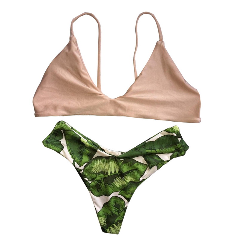 Vertvie Sexy Micro Bikini Set Flesh Pink Strap Push Up Swimwear Green Leaf Pattern Bottom Swimsuit Women Summer Beach Bikini Set vertvie sexy solid bangdage bikini set green hollow out push up braided rope swimsuit women 2017 summer beach party bathing suit