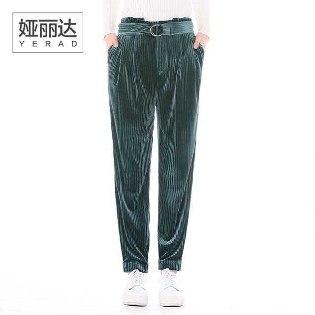 cdf50005e9a YERAD Kobiety Aksamitne Spodnie Harem Pants Paperbag Talii Spodnie z  Paskiem Luźne Kobiece Spodnie Dresowe