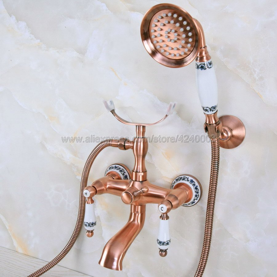 Antique Red Copper Wall Mount Bathtub Bathroom Faucet Telephone Style Mixer Faucet Tap with Dual Handle Handshower Kna379 antique red copper bathtub faucets telephone style tub mixer taps dual handle bathroom bath shower faucet with handshower tna338