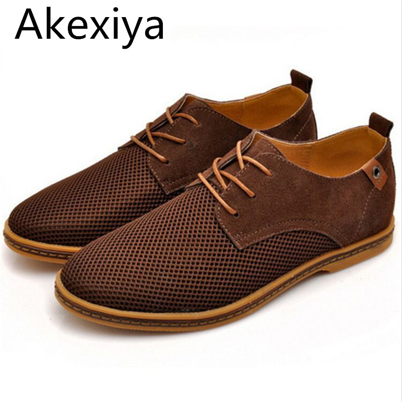 Avocado Store Akexiya Plus Size 39-47 European Men's Fashion Casual Genuine Leather Shoes Mesh Breathable Men Oxford Shoes Cow Muscle