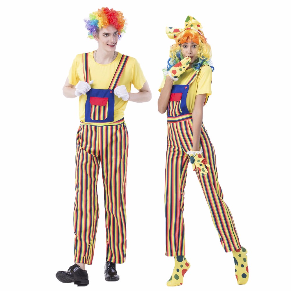 Umorden Carnival Party Halloween Clown Costumes Men Women Rainbow Circus Clown Costume Cosplay Fancy Striped Top Pants Couple in Holidays Costumes from Novelty Special Use