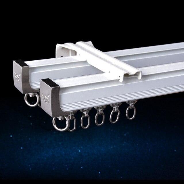 Алюминиевый сплав карниз для штор, Потолочная боковая установка, один прочный тройной аксессуар, размер по заказу