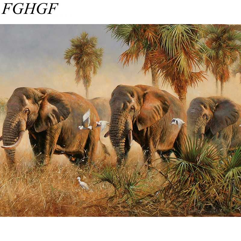 FGHGF Frameless Picture Elephant Painting By Numbers Home Decor DIY Coloring By Numbers On Canvas Fashion