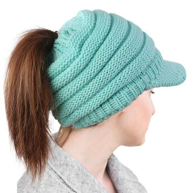 200aae6b533aab Autumn Winter Hat For Women Warm Female Beanie Ribbed Knitted Ponytail Cap  With Brim Adult Fashion Leisure Bonnet Skullies Woman