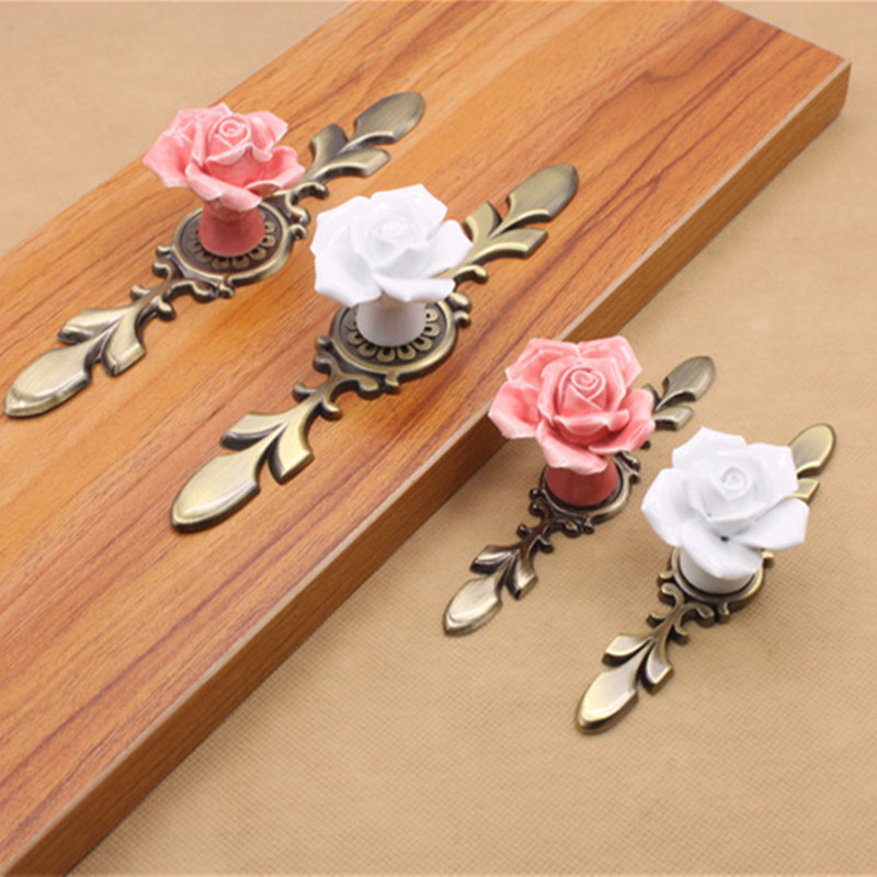 Pink White Rose Ceramic Alloy Base Door Handles Kitchen Cupboard Closet Drawer Cabinet Pull Knobs Furniture Accessories white drawer pull knob kitchen cabinet door handles for cabinet wardrobe cupboard closet drawer furniture hardware accessories