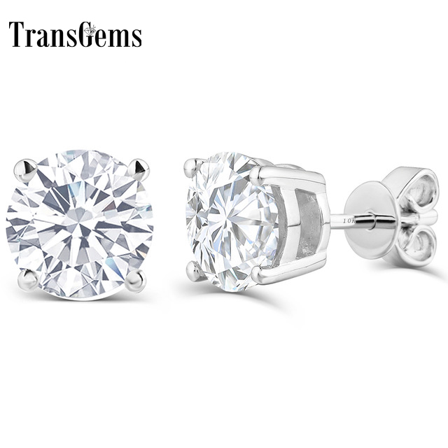 Transgems 10K post 1.6ctw 6MM F color Platinum Plated Silver+Lab Created moissanite Stud Earrings For Women push back starry pattern gold plated alloy rhinestone stud earrings for women pink pair