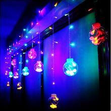 Happy год! ватный шарик фонари светодиодные строки Рождество гирлянды свадебные праздничные украшения 3x0.65 м LED Рождество огней Luces d
