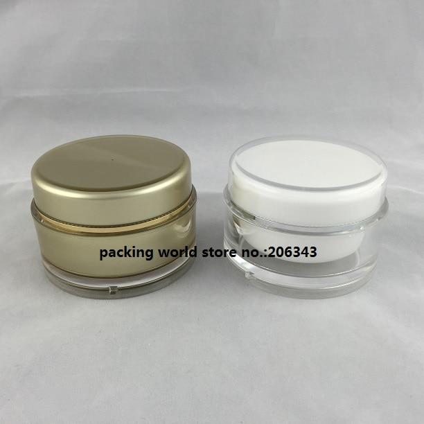 100G akrilni beli / zlati okrogel kozarec za esenco / maska - Orodja za nego kože