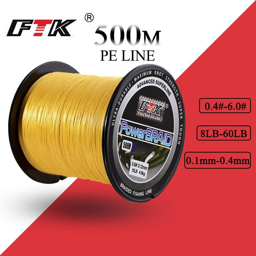 FTK 500 m PE Tressé Ligne De Pêche cordon 8-60LB 0.1-0.4mm 4 Brin Multifilament De Pêche PE Tressé Fil 500 m ligne De Pêche