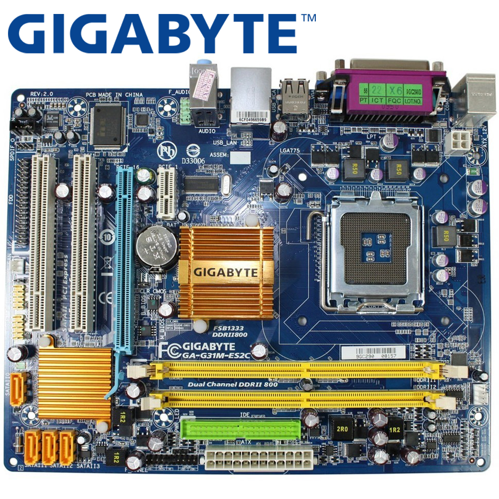 GIGABYTE GA-G31M-ES2C Desktop Motherboard G31 Socket LGA 775 For Core 2 DDR2 4G Micro ATX Original Used G31M-ES2C Mainboard