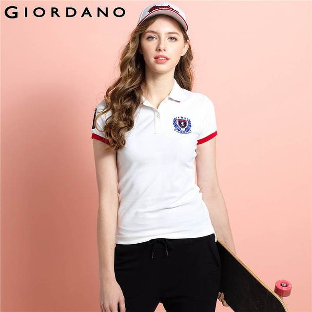 bf23e89466 Giordano Women Brand Striped Polo Summer Slim Fit Polos Female Fashion Woman  Polo Shirt Short Sleeve Tops for Women
