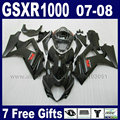 High quality road motorcycle fairings set for SUZUKI K7 K8 2007 GSXR1000 2008 GSXR 1000 08 07 full black body fairing parts