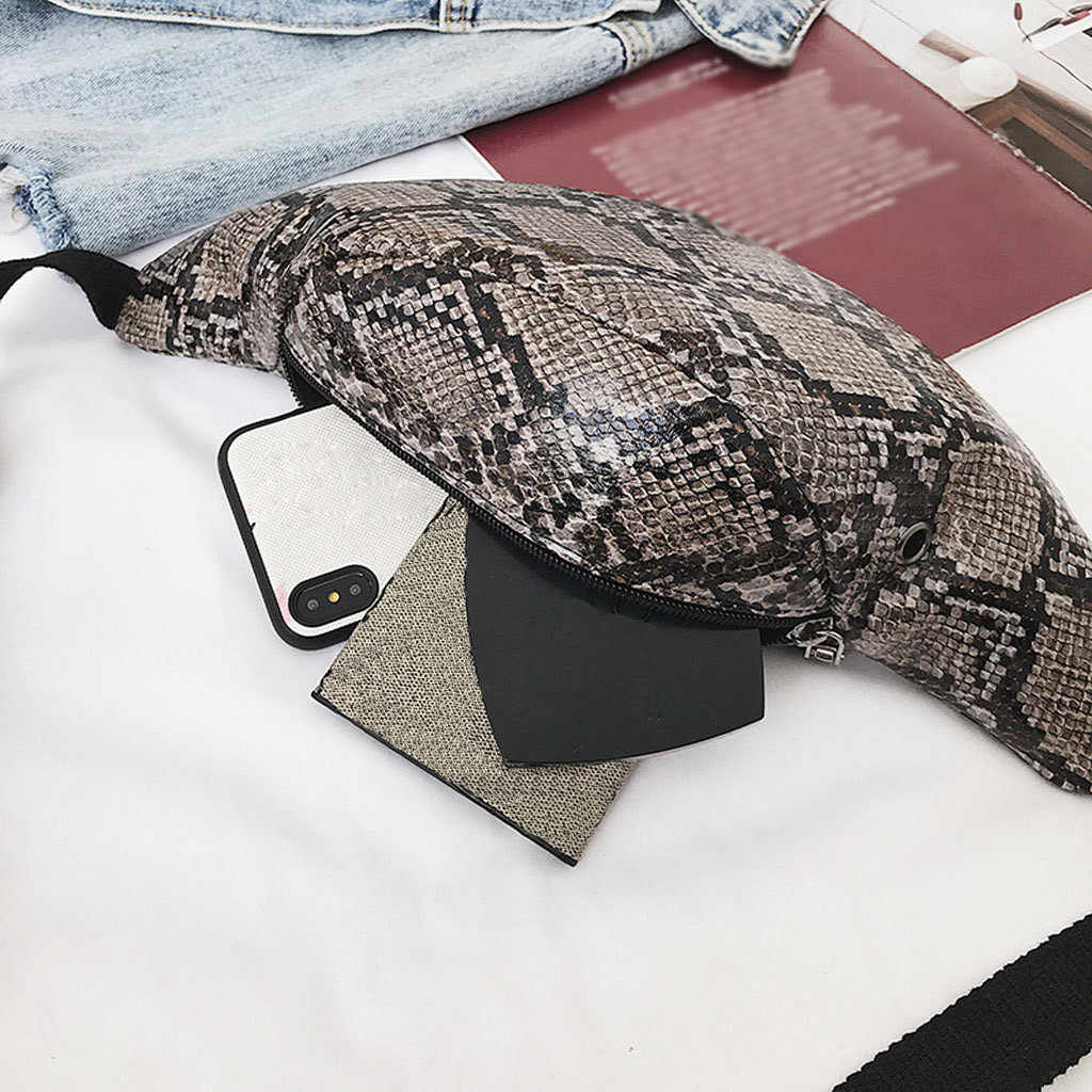 Модная сексуальная серпантиновая поясная сумка нейтральный змеиный принт мини Диско поясная сумка для улицы вечерние сумки для мобильного телефона на бедрах # s