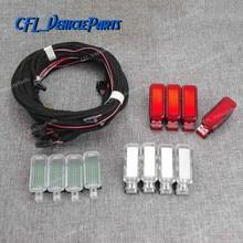 X12 двери Панель Предупреждение светодиодный осветительных приборов для ног светильник лампы+ жгут проводов кабеля 8KD947411 для Audi A3 A4 B8 A5 A6 A7 A8 Q3 Q5 TT