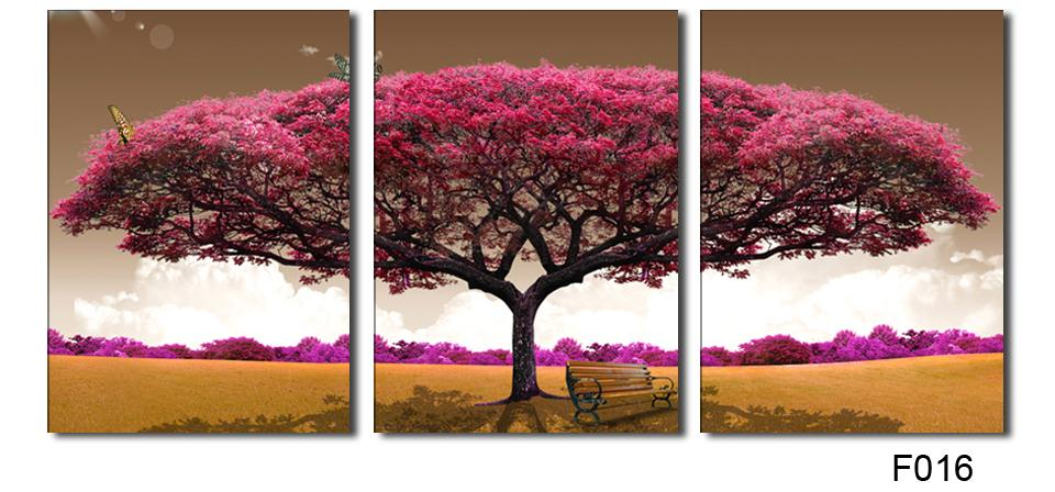 3 Piece Art Oil Canvas Romantic Wall Tree Picture