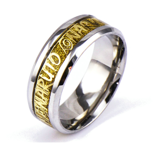 Naruto Titanium Stainless Steel Gold Ring