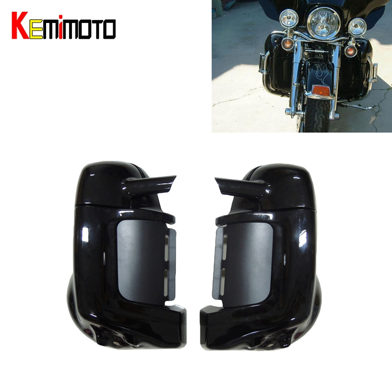 For Harley Davidson Touring 1983-2012 HD Road King Tour Motorcycle Painted Black Lower Vented Leg Fairing Glove Box Hardware