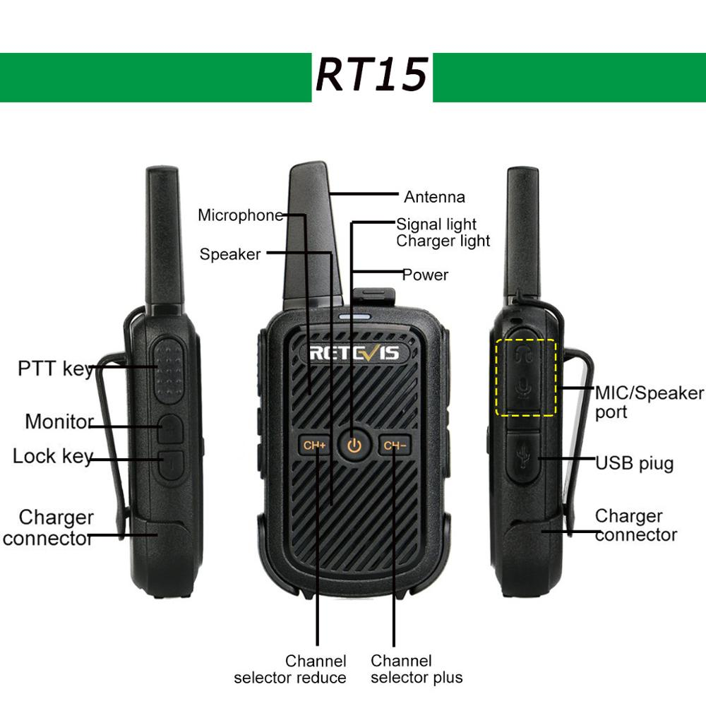 Image 2 - 2pcs Retevis RT15 Mini Walkie Talkie Portable Two Way Radio Station UHF VOX USB Charging Transceiver Communicator Walkie Talkie-in Walkie Talkie from Cellphones & Telecommunications