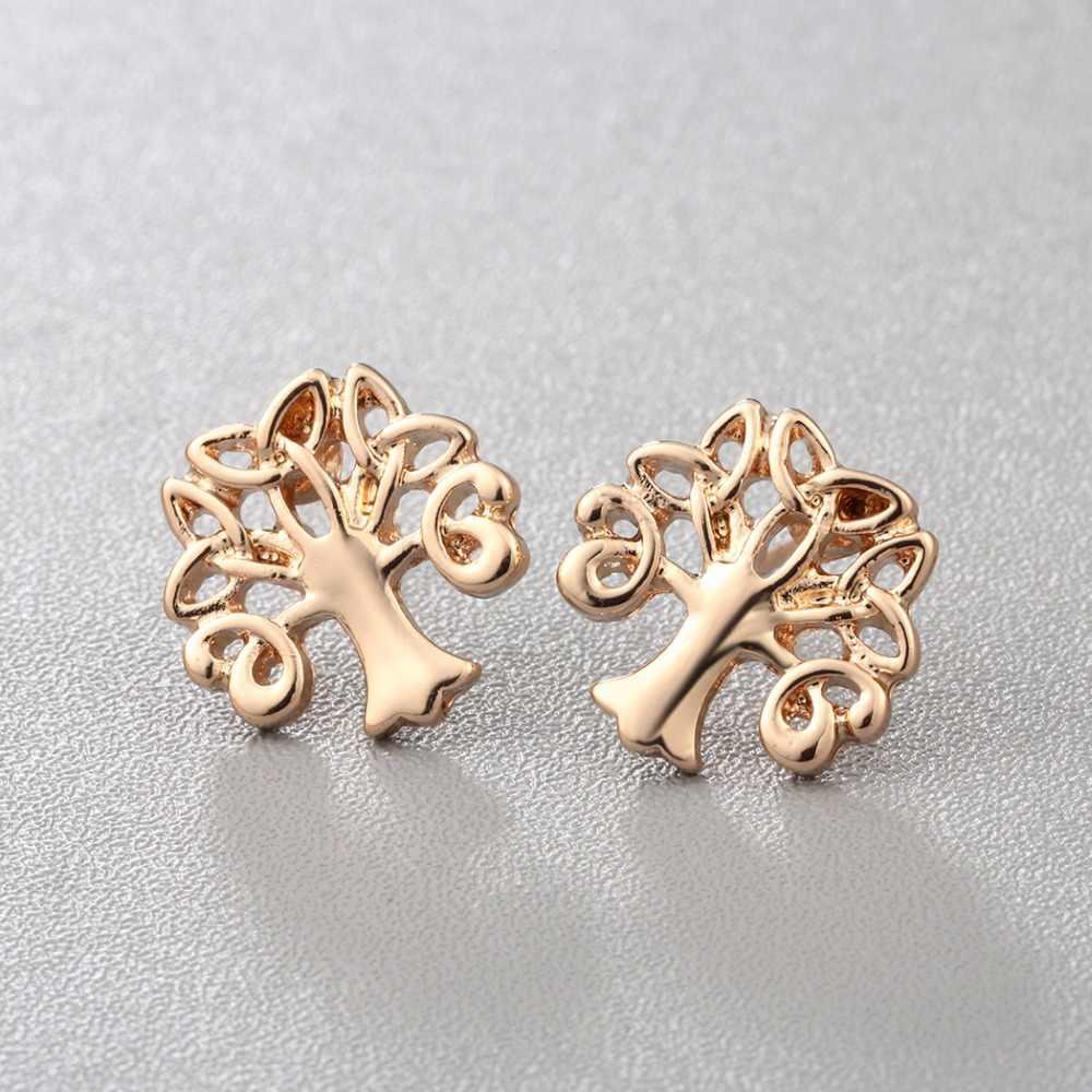 זעיר עץ אוזן הרבעה עגילי זהב כסף צבע חיים של עץ קשר בצורה לדחוף בחזרה עגילים לנשים ילדה קסם תכשיטי מפלגה