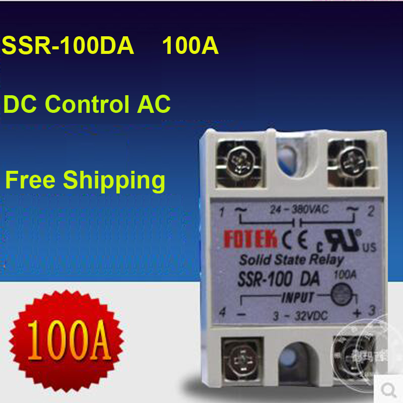 Free Shipping Quality Assurance 1 PC DC To AC 3-32VDC To 24-380VAC Big Current  Relay SSR 100A Solid State Relay  SSR-100DA free delivery mc9s12h128vfv mc9s12h128vfve jiaxing electronic quality assurance