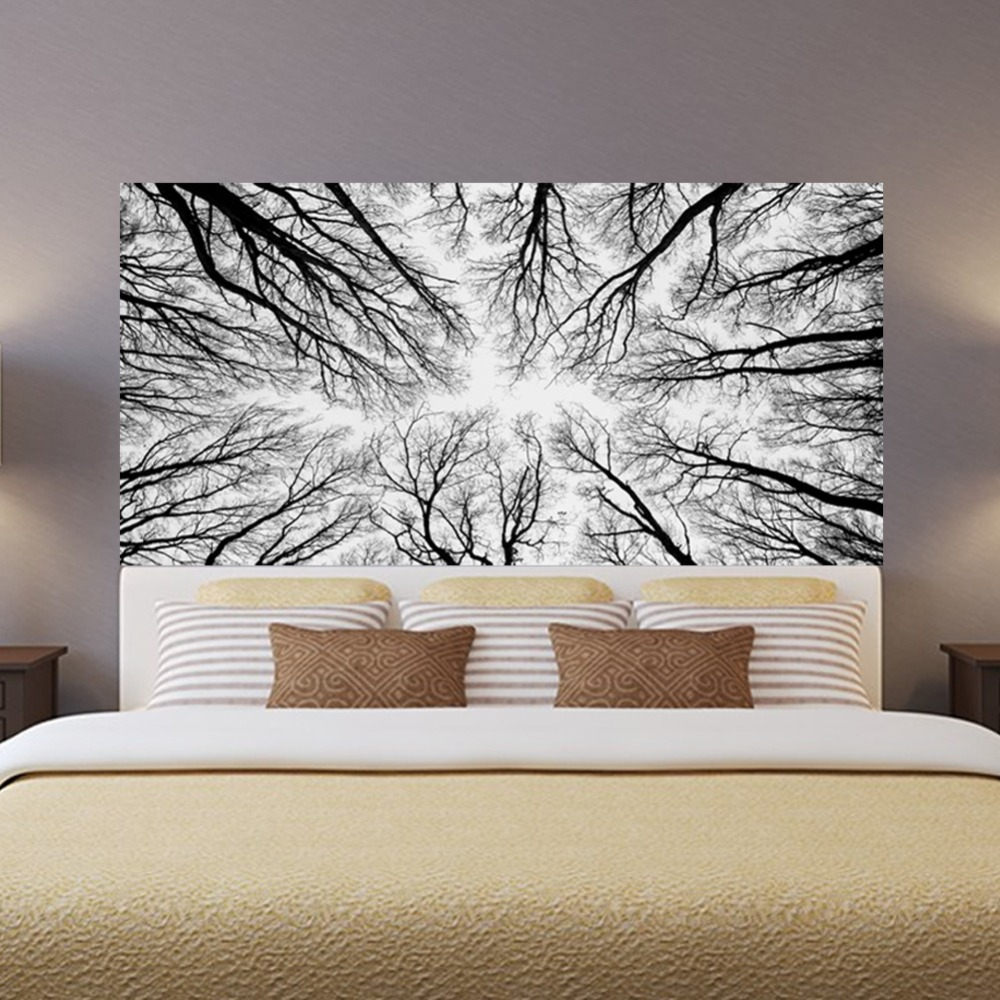 Image 2 - Black Tree Branches 3D Headboard Wall Sticker Room Bedroom Wall Decal Bed Bedside Vinyl Home Decor-in Wall Stickers from Home & Garden