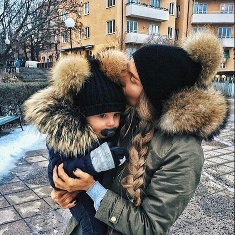 Child Knit Beanie Mother Kids Winter Caps Fur Pom Poms Hats Women Faux Fur Beanies Wool Boys Girls Skullies Knitted Pompom Hat new star spring cotton baby hat for 6 months 2 years with fluffy raccoon fox fur pom poms touca kids caps for boys and girls