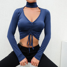 JSMY New Womens INS Style Pleated Rope High Collar Sexy Choker Top Slimming Expose Navel Casual Pullover