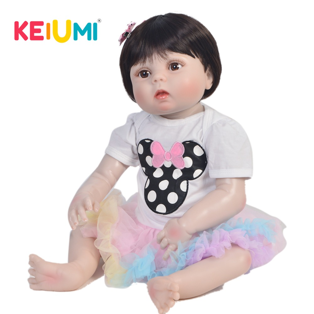 где купить KEIUMI 57 cm Realistic Doll Reborn Handmade Full Silicone Reborn Baby Dolls So Cute 23'' Fashion Baby Reborn Girl Birthday Gifts дешево