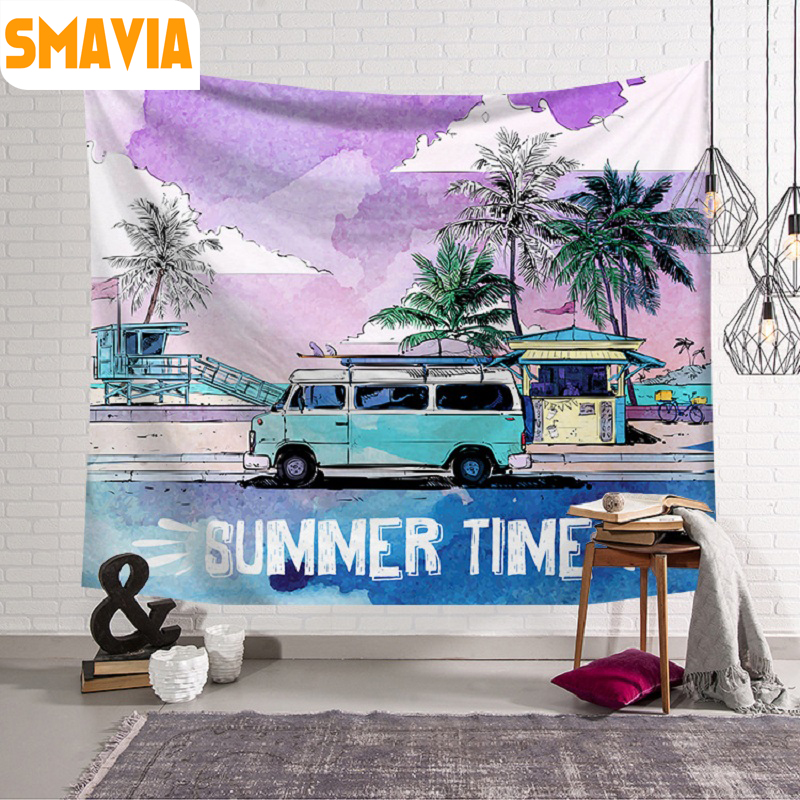 SMAVIA Hot Sale Summer Time Tapestry 100% Polyester Wall Hanging Tapestry Travel Pad Decorative Tapestry 6 Color