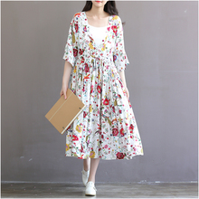 2016 summer elegant beach dress print full dress 100% cotton plus size loose fifth sleeve one-piece dress
