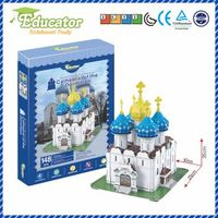 World Famous Architecture Free Shipping Cathedral of the Dormition Educator 3D puzzle Buliding model 3D puzzle game for Adult