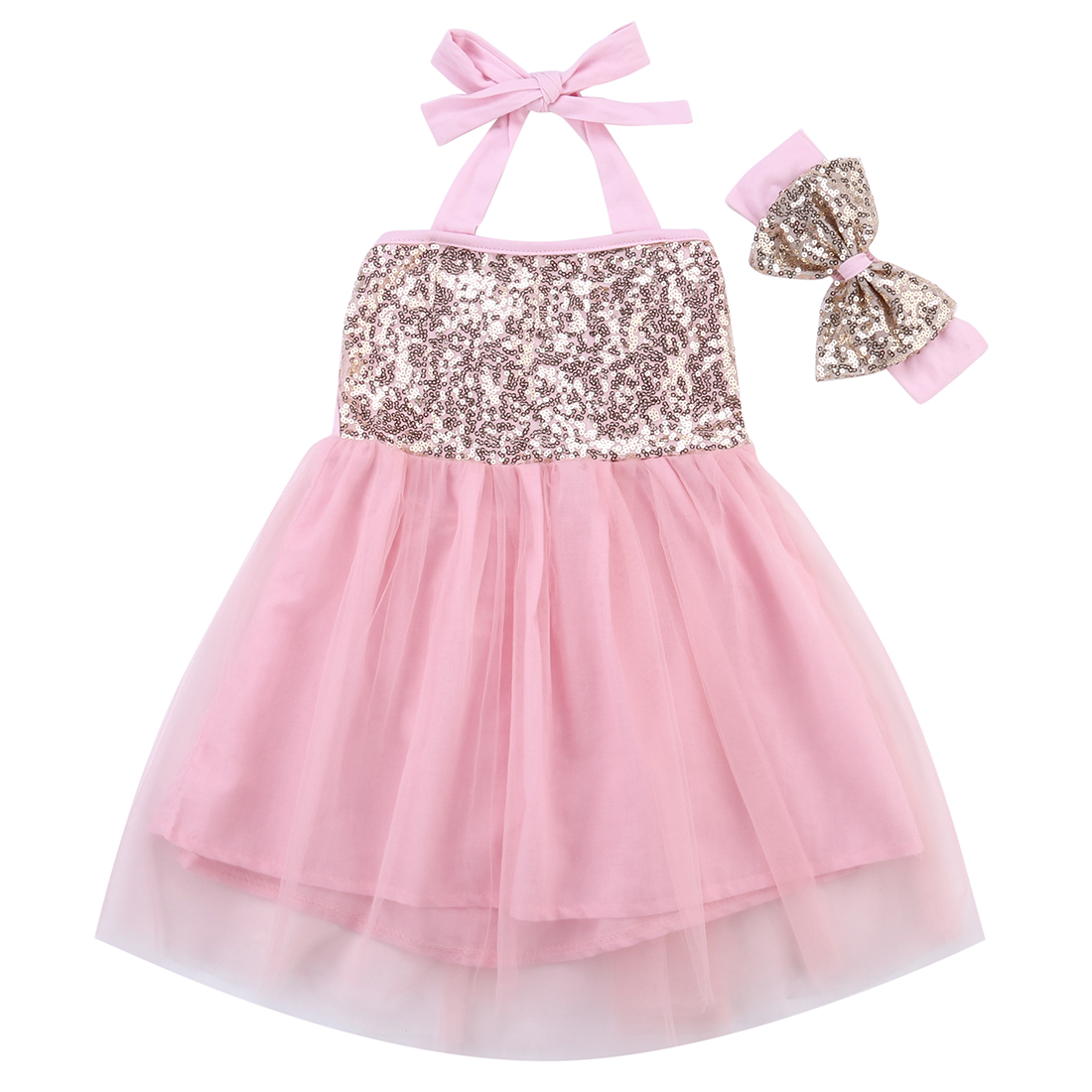 Newborn Toddler Kids Baby Girls Lace Sequins Sleeveless Belted Tulle Dress +Bow Headband 2Pcs Clothes Outfit