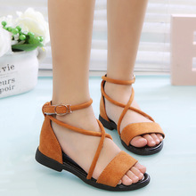 Summer New Girls Suede Roman Sandals Shoes Kids Princess Children Non-Slip Gladiator 3 Color Size 26-36